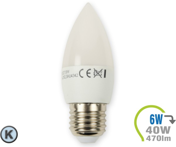 E27 LED Kerze 6W Kaltweiß