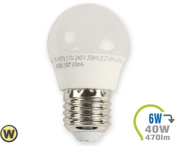 E27 LED Lampe 6W G45 Warmweiß