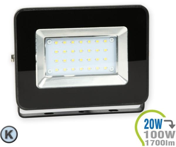 LED Strahler 20W SMD Slim Schwarz Kaltweiß