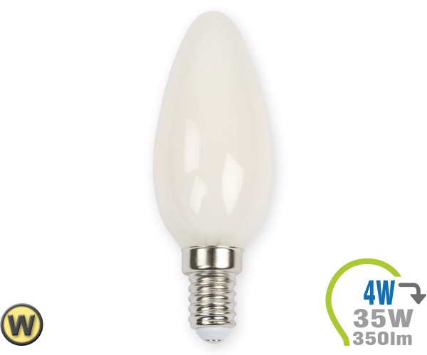 E14 LED Kerze 4W Filament weiß Warmweiß