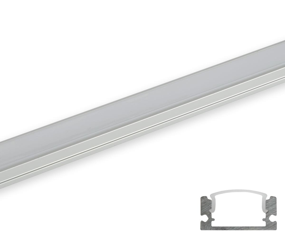 Aluminum profil schmal flach gerundete abdeckung matt 2m for Lampen leuchten shop