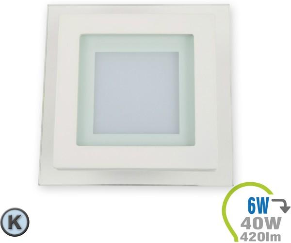LED Paneel Einbauleuchte Glas 6W Eckig Kaltweiß