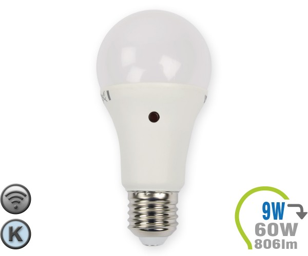 E27 LED Lampe 9W A60 Dämmerungssensor Kaltweiß