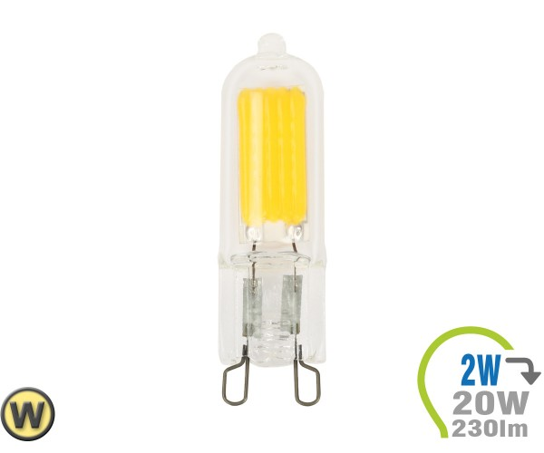 G9 LED Lampe 230V 2W Glas Warmweiß