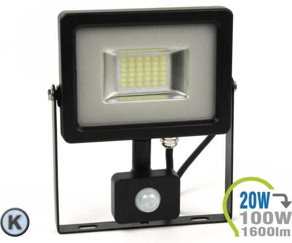 LED Strahler 20W SMD Slim mit Bewegungsmelder Kaltweiß