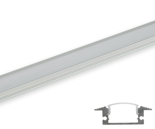 Aluminum Profil flach gerundete Abdeckung matt 2m