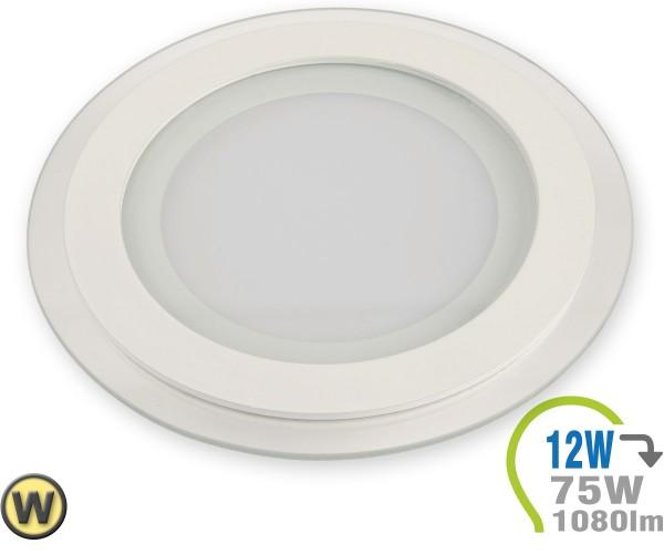 LED Paneel Einbauleuchte Glas 12W Rund Warmweiß