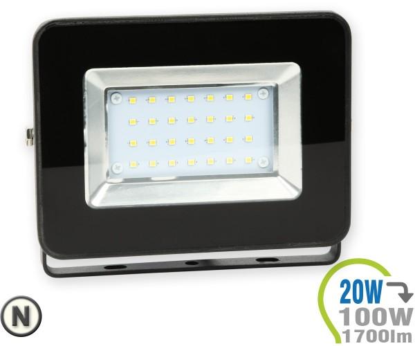 LED Strahler 20W SMD Slim Schwarz Neutralweiß