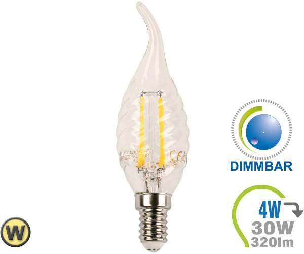 E14 LED Kerze 4W Filament verdreht & geschwungen Warmweiß Di