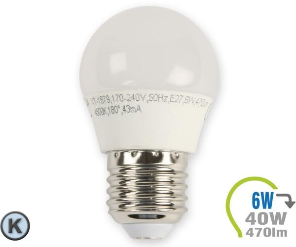 E27 LED Lampe 6W G45 Kaltweiß