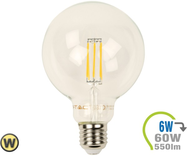 E27 LED Globe 6W Filament G95 Warmweiß