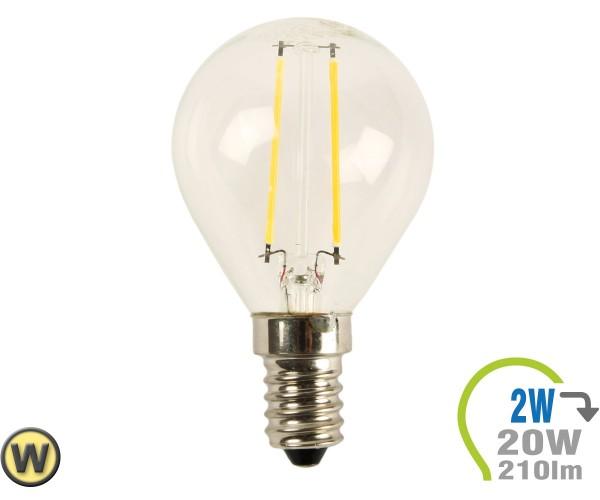 E14 LED Lampe 2W Filament P45 Warmweiß
