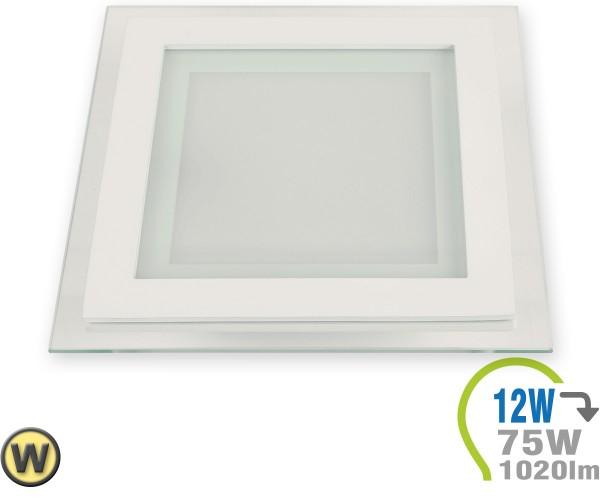 LED Paneel Einbauleuchte Glas 12W Eckig Warmweiß