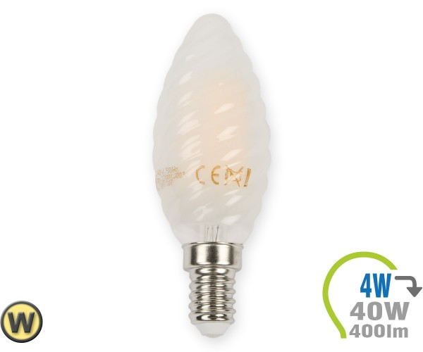 E14 LED Kerze 4W Filament matt verdreht Warmweiß