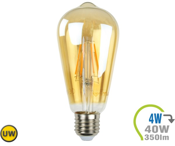 E27 LED Lampe 4W Filament ST64 Ultra-Warmweiß