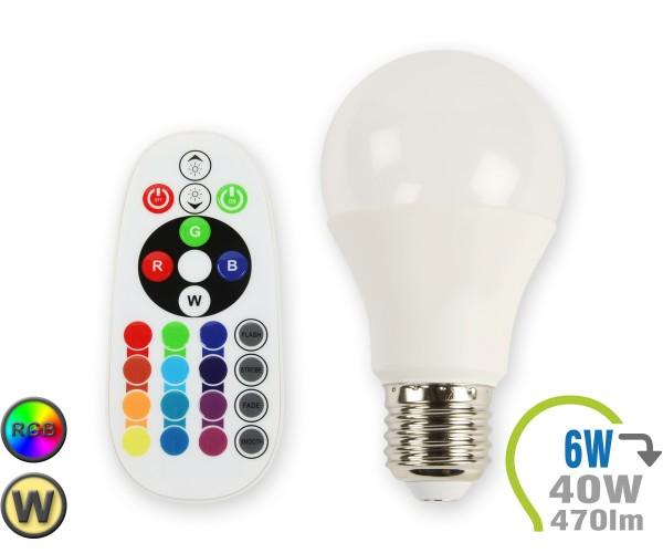 E27 LED Lampe 6W A60 RGB mit Fernbedienung Warmweiß