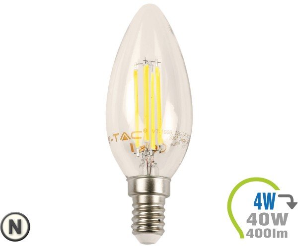 E14 LED Kerze 4W Filament Neutralweiß