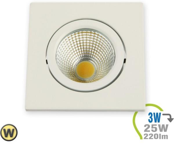 LED Einbauleuchte 3W Eckig verstellbar Warmweiß