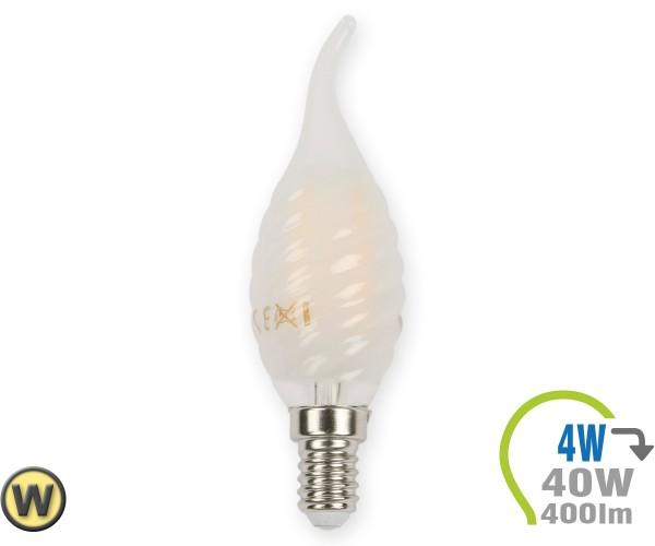 E14 LED Kerze 4W Filament matt verdreht & geschwungen Warmwe