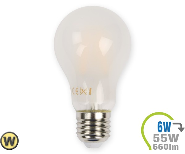 E27 LED Lampe 6W Filament matt A60 Warmweiß