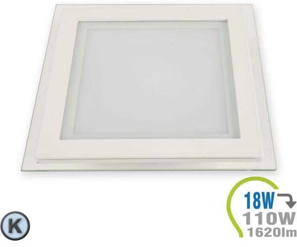 LED Paneel Einbauleuchte Glas 18W Eckig Kaltweiß