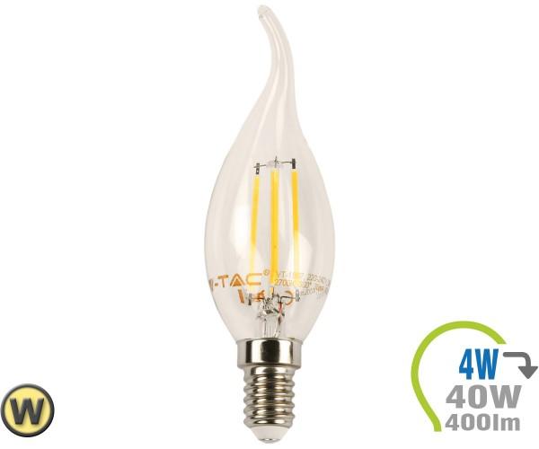 E14 LED Kerze 4W Filament geschwungen Warmweiß