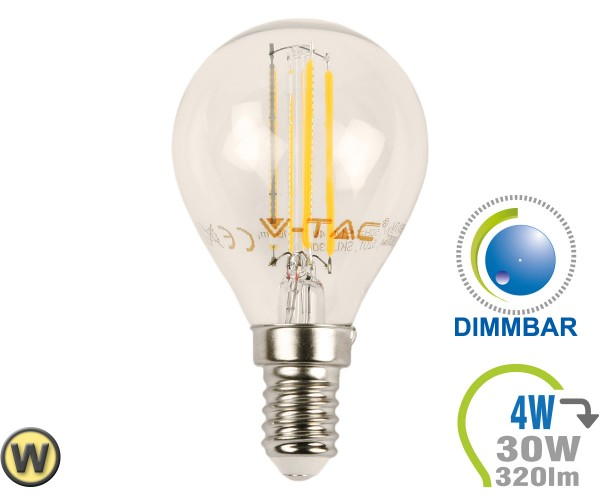 E14 LED Lampe 4W Filament P45 Warmweiß Dimmbar