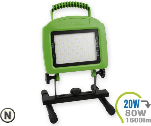 LED Strahler 20W mit Akku Neutralweiß