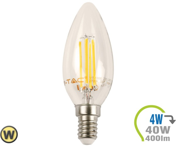 E14 LED Kerze 4W Filament Warmweiß