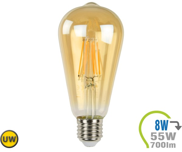 E27 LED Lampe 8W Filament ST64 Ultra-Warmweiß