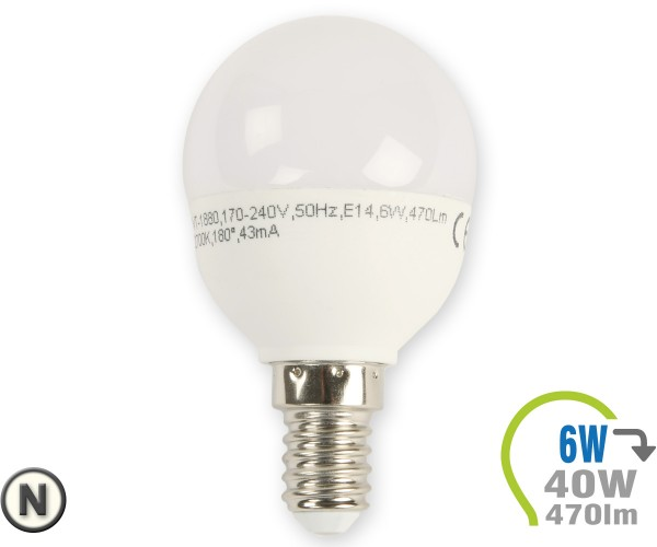 E14 LED Lampe 6W P45 Neutralweiß