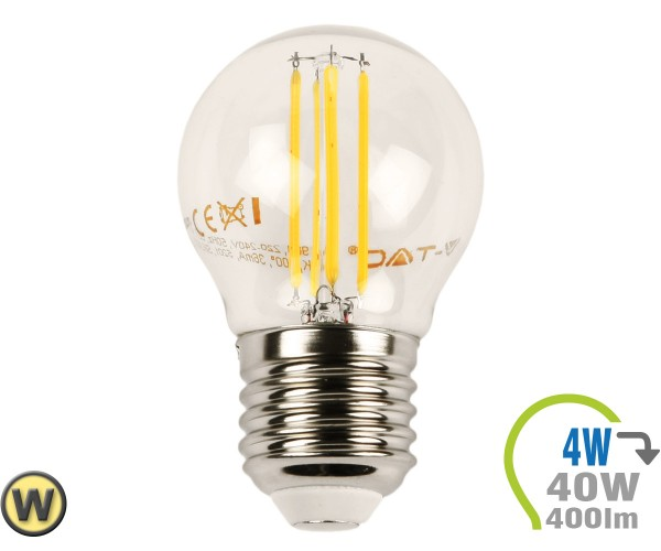 E27 LED Lampe 4W Filament G45 Warmweiß