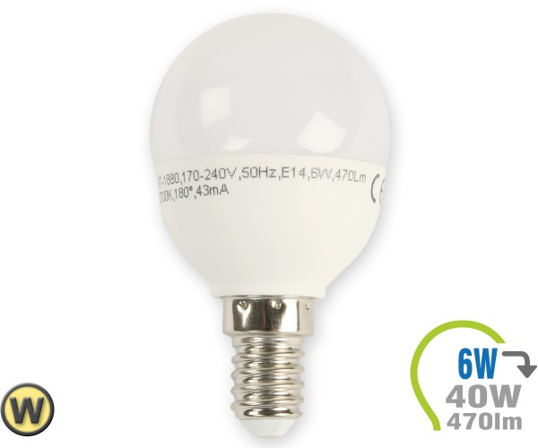 E14 LED Lampe 6W P45 Warmweiß
