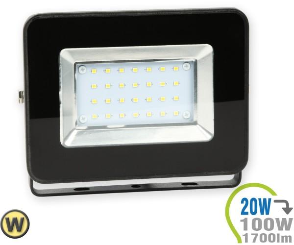 LED Strahler 20W SMD Slim Schwarz Warmweiß