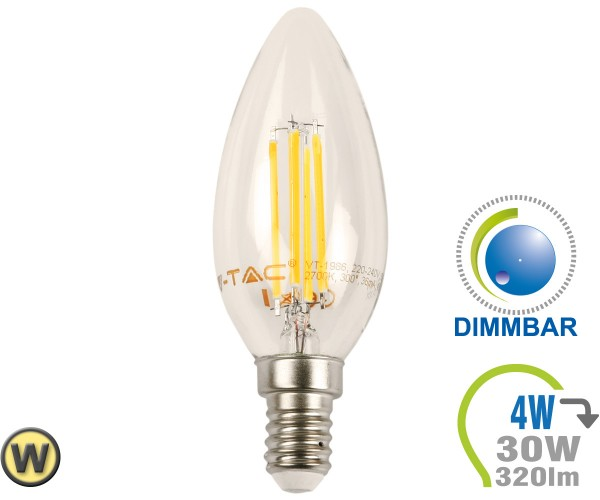 E14 LED Kerze 4W Filament Warmweiß Dimmbar