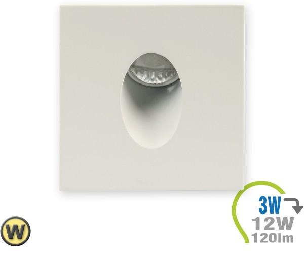 LED Einbauleuchte für Stufen 3W Eckig Warmweiß