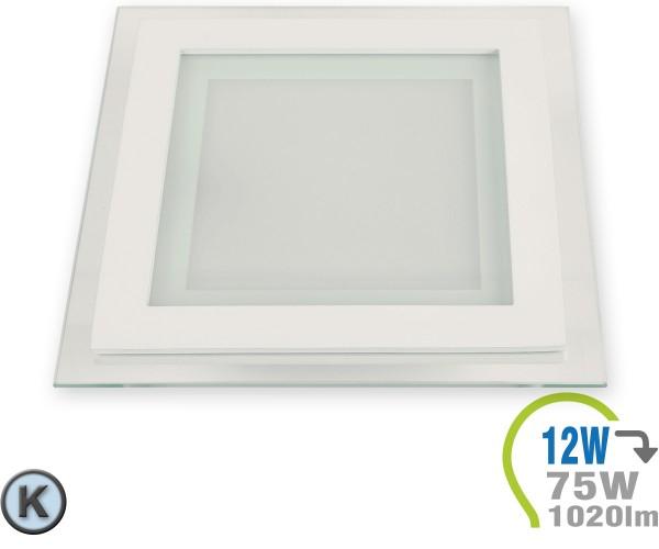 LED Paneel Einbauleuchte Glas 12W Eckig Kaltweiß