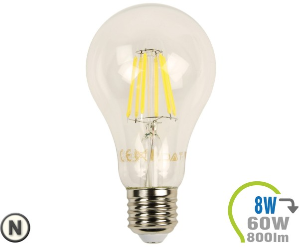 E27 LED Lampe 8W Filament A67 Neutralweiß