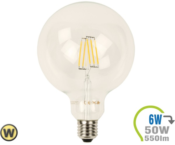E27 LED Globe 6W Filament G125 Warmweiß