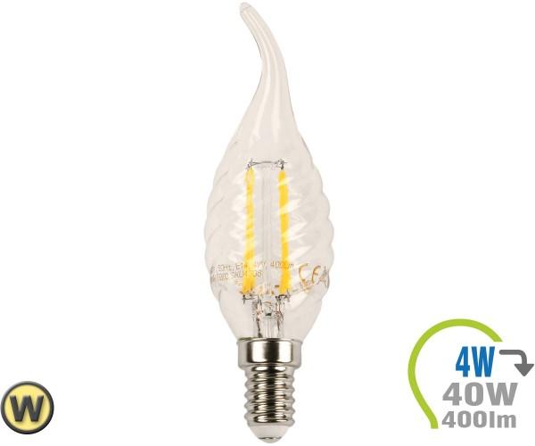 E14 LED Kerze 4W Filament verdreht & geschwungen Warmweiß