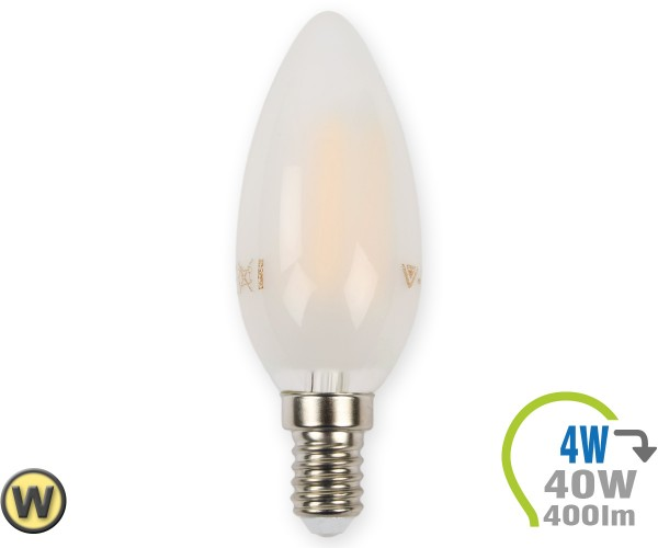 E14 LED Kerze 4W Filament matt Warmweiß