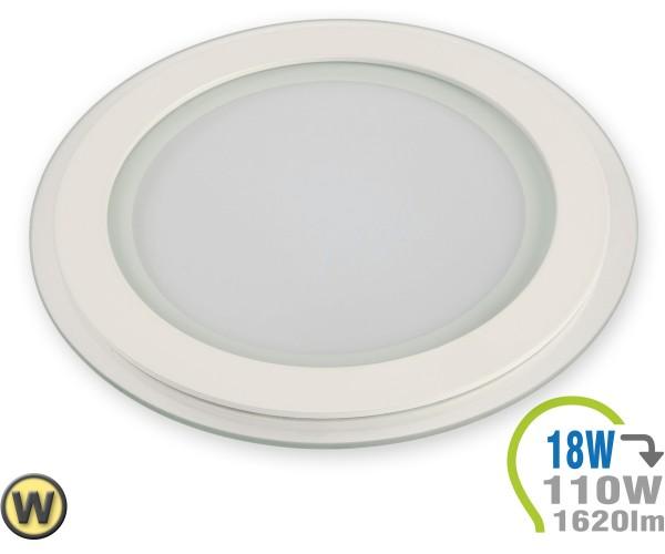 LED Paneel Einbauleuchte Glas 18W Rund Warmweiß