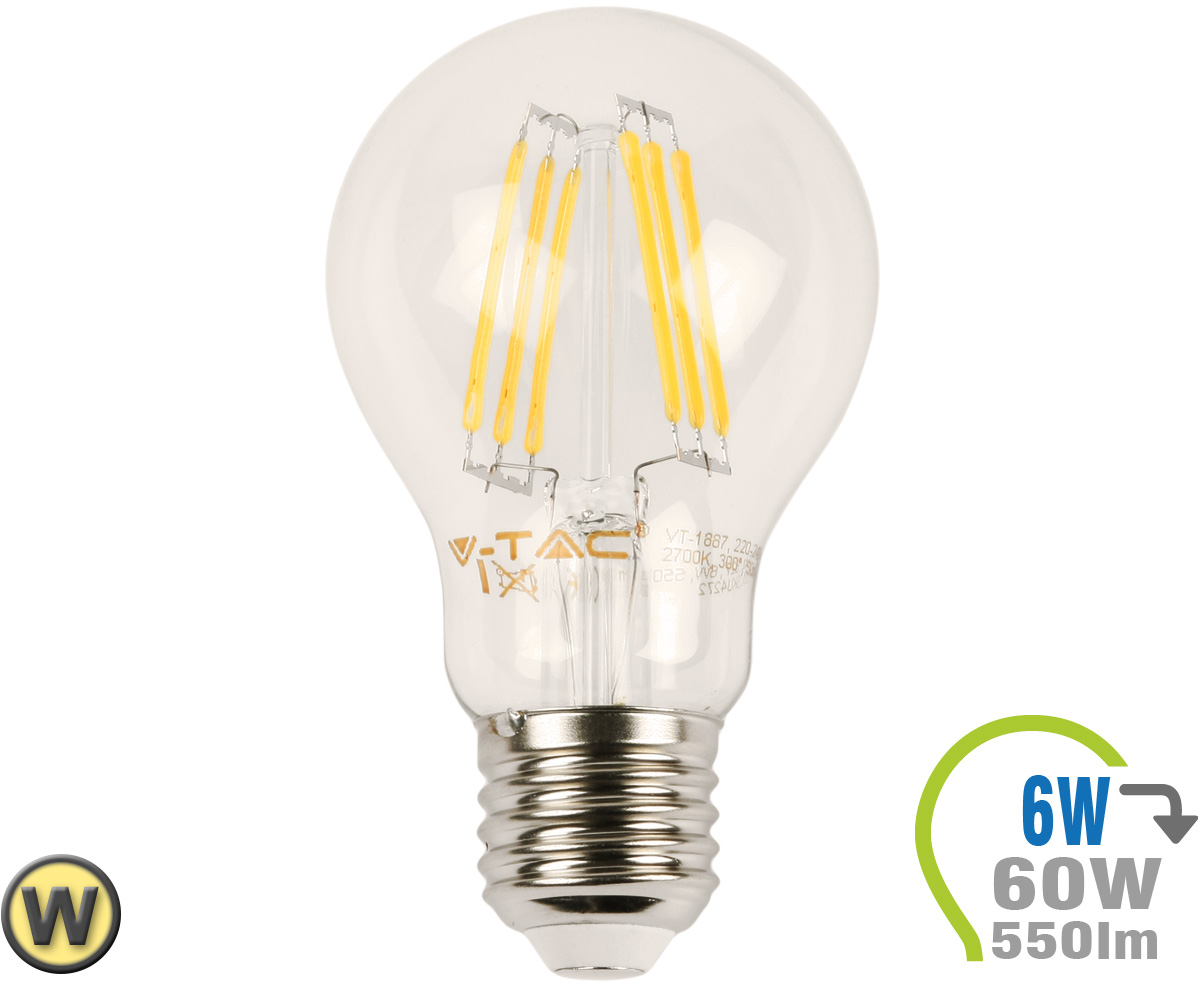 E27 led lampe 6w filament a60 warmwei e27 led for Led lampen shop