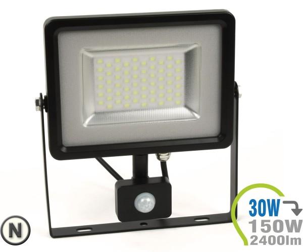 LED Strahler 30W SMD Slim mit Bewegungsmelder Neutralweiß