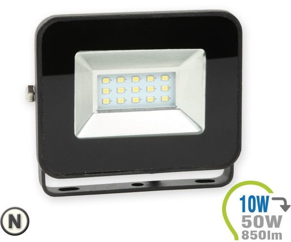 LED Strahler 10W SMD Slim Schwarz Neutralweiß