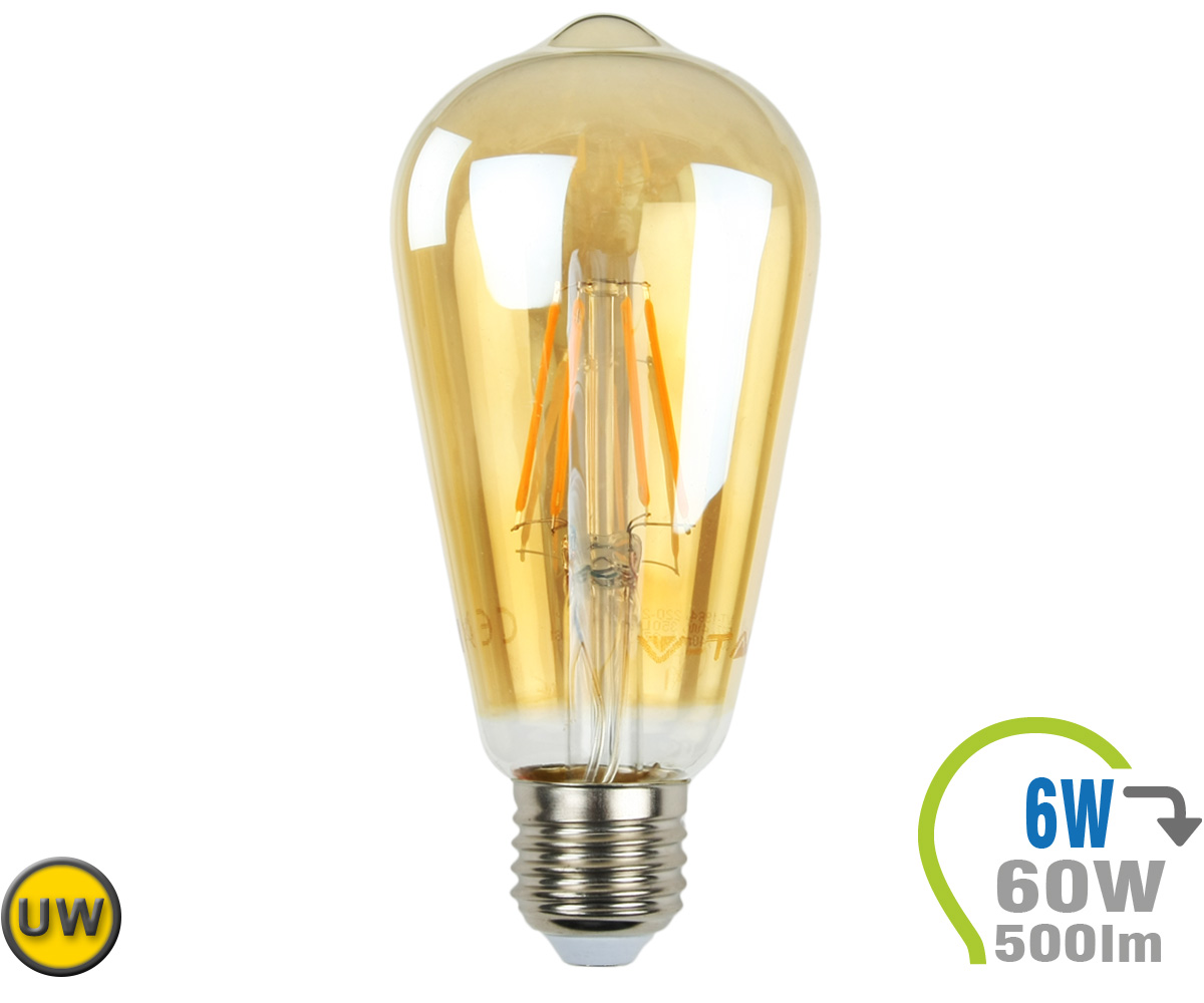 E27 led lampe 6w filament st64 ultra warmwei e27 led for Led lampen shop
