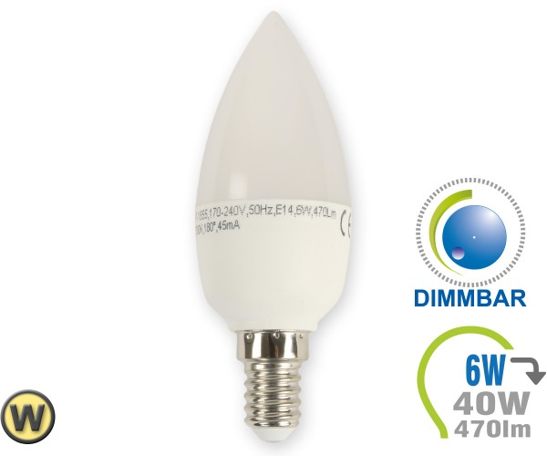 E14 LED Kerze 6W Warmweiß dimmbar