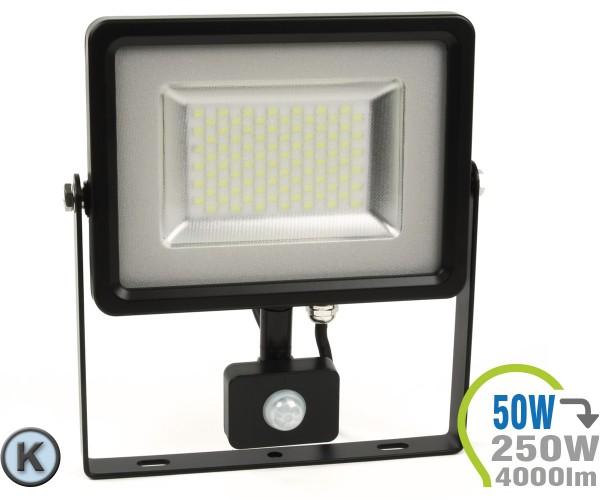 LED Strahler 50W SMD Slim mit Bewegungsmelder Kaltweiß